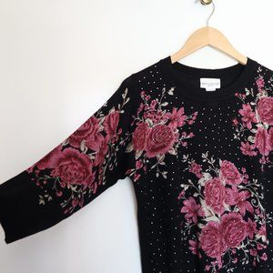 Rebecca Malone Floral Knit 3/4 Sleeve Sweater